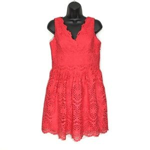 Adrianna Pappelle Coral Lace Embroidered Dress 8P